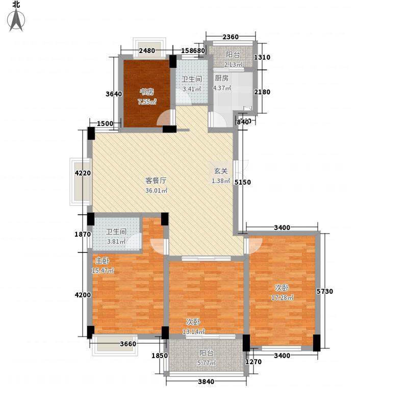 兴悦・齐云佳园11.00㎡B户型3室2厅2卫1厨