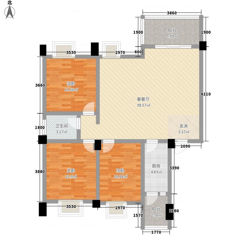 荣华山庄二期温情港湾11.38㎡B户型3室2厅1卫1厨