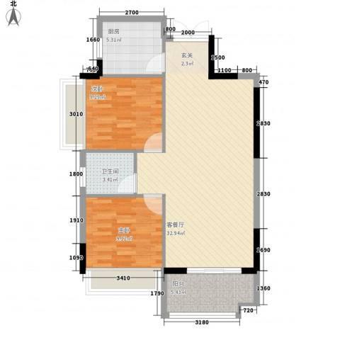 芙蓉公馆2室1厅1卫1厨83.00㎡户型图