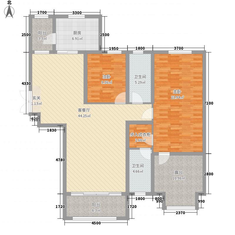 中汇城・御园145.00㎡D'户型2室2厅2卫1厨