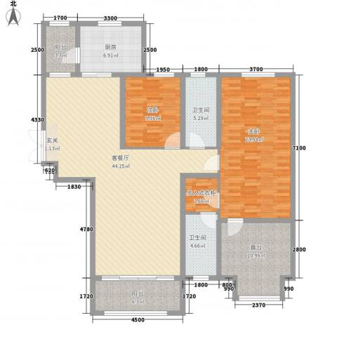 中汇城・御园2室1厅2卫1厨145.00㎡户型图