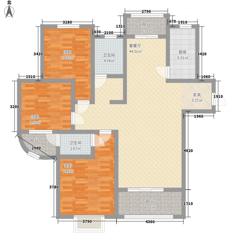 盈辉家园15.00㎡户型3室2厅2卫