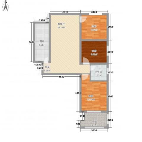 离石文华苑3室1厅1卫1厨311.00㎡户型图