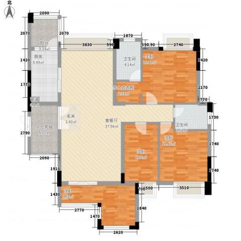 东湖花园七区4室1厅2卫1厨105.37㎡户型图