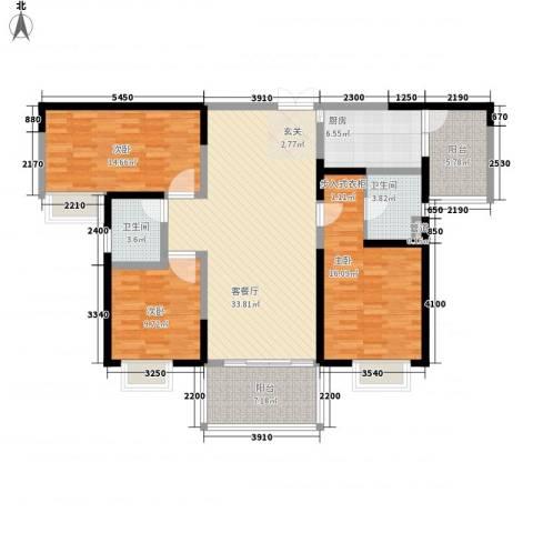 天润碧海湾3室1厅2卫1厨134.00㎡户型图