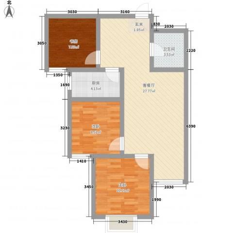 离石文华苑3室1厅1卫1厨62.04㎡户型图
