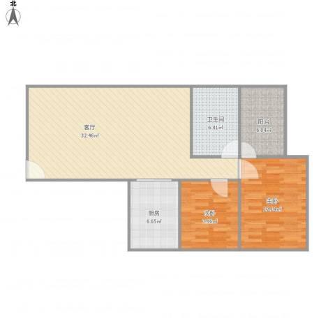 世邦一水岸2室1厅1卫1厨96.00㎡户型图