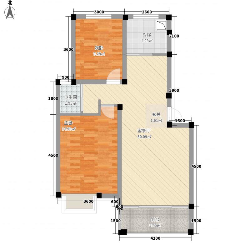 金海岸二期户型2室2厅2卫1厨