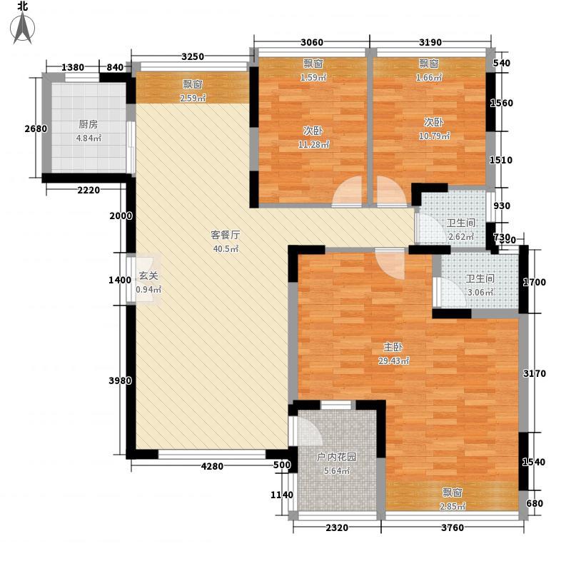 振业中央华府151.73㎡I户型3室2厅2卫1厨