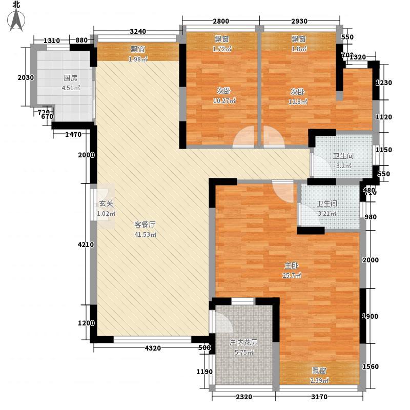 振业中央华府14.70㎡K户型3室2厅2卫1厨