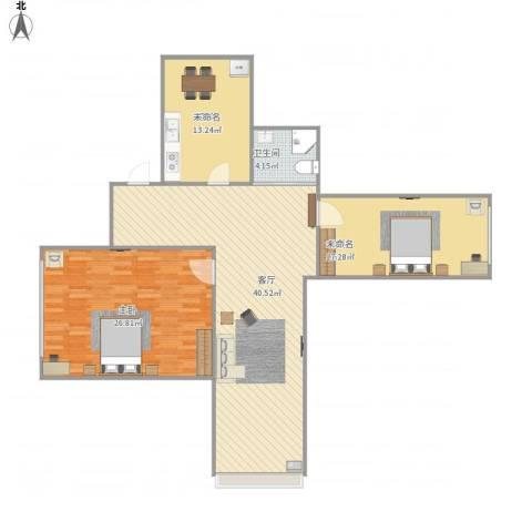 南部新城2室1厅1卫1厨134.00㎡户型图