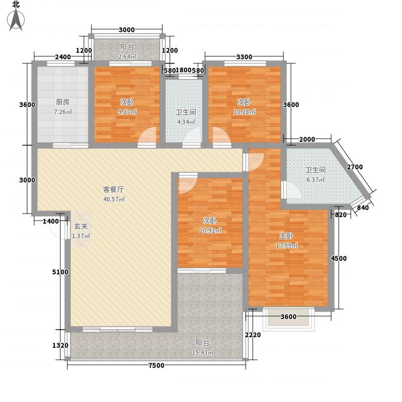 麒龙新天地14.40㎡4#楼标准层户型4室2厅2卫1厨