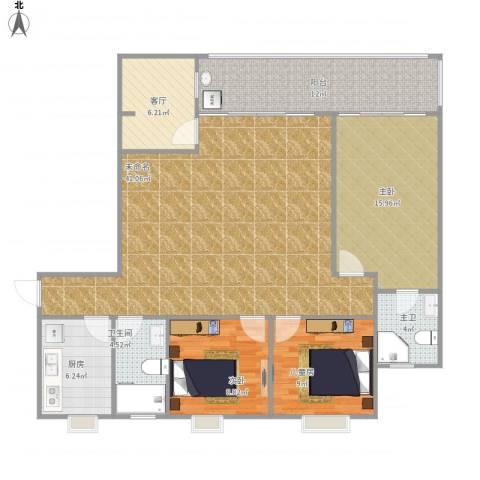 时代华庭3室1厅1卫1厨145.00㎡户型图