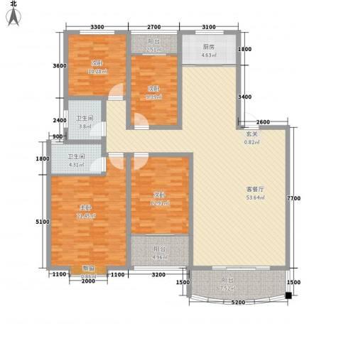 康城花园4室1厅2卫1厨135.41㎡户型图