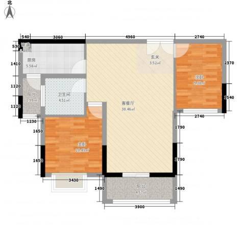 青年城1号2室1厅1卫1厨67.12㎡户型图