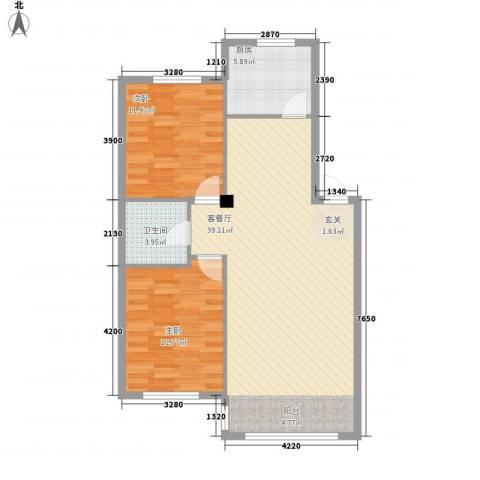金城福邸2室1厅1卫1厨73.19㎡户型图