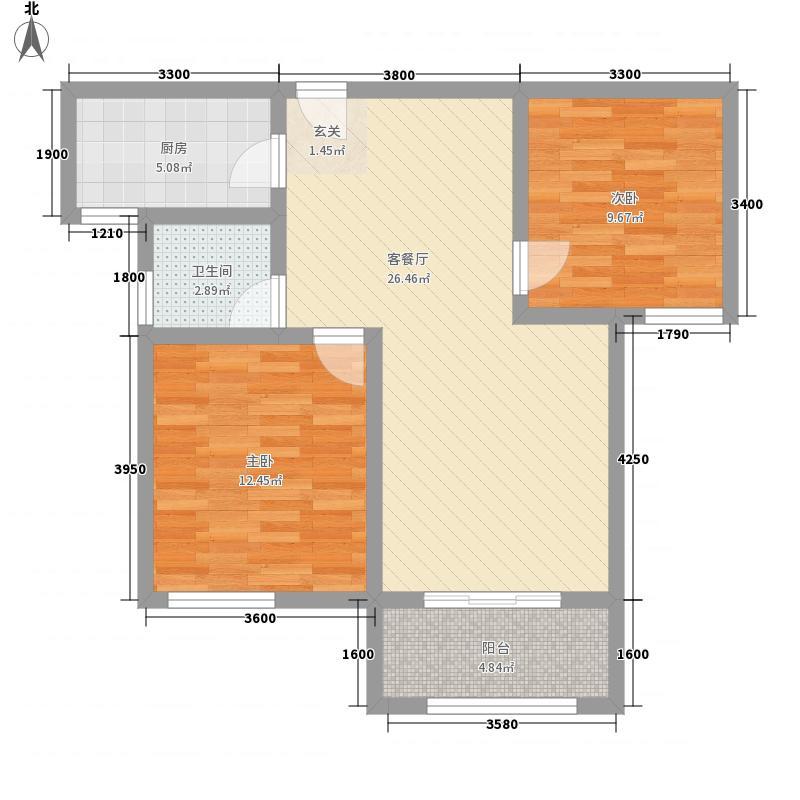 丽彩・溪悦城1.27㎡H户型2室2厅1卫1厨