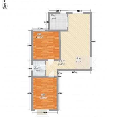 青云景苑2室1厅1卫1厨69.64㎡户型图