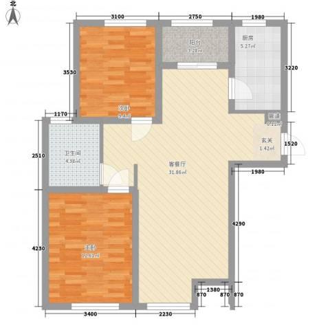 逸馨园2室1厅1卫1厨96.00㎡户型图