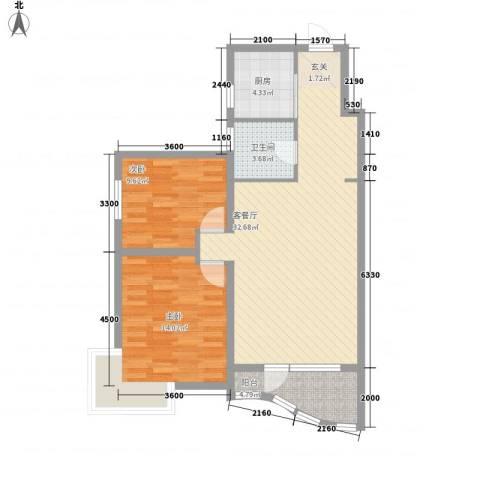 君临天下2室1厅1卫1厨98.00㎡户型图