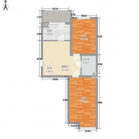 �悦香湾2室1厅1卫1厨65.00㎡户型图