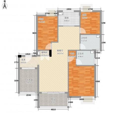 黄山雨润星雨华府3室1厅2卫1厨131.00㎡户型图