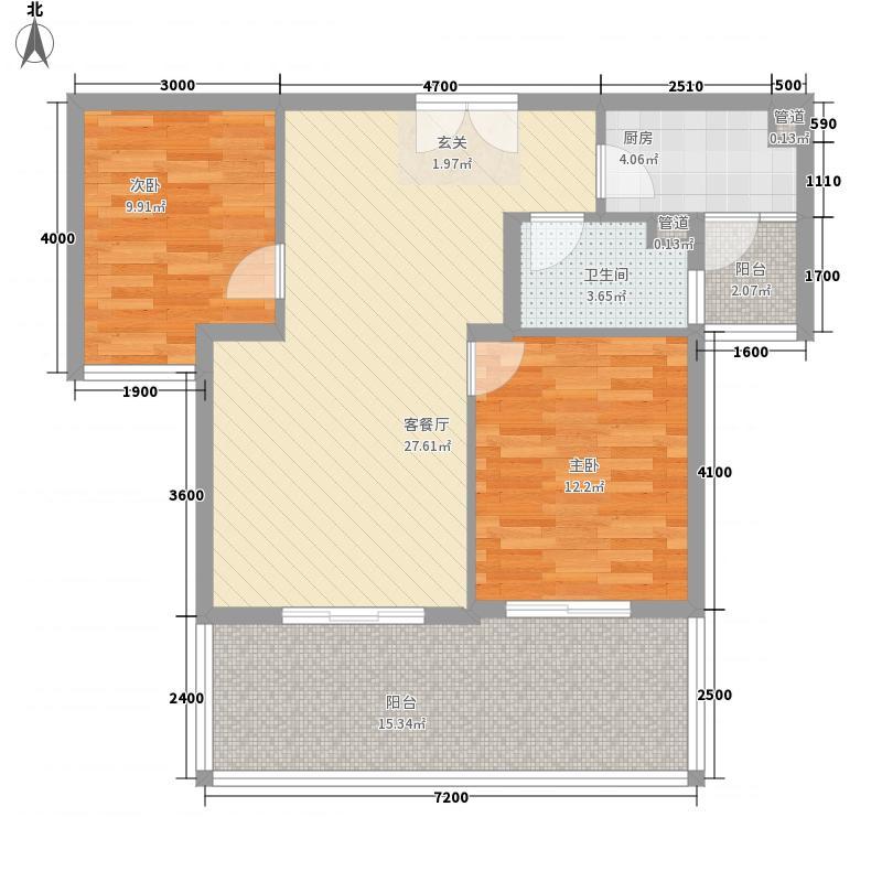 绿湾国际B户型2室2厅1卫1厨