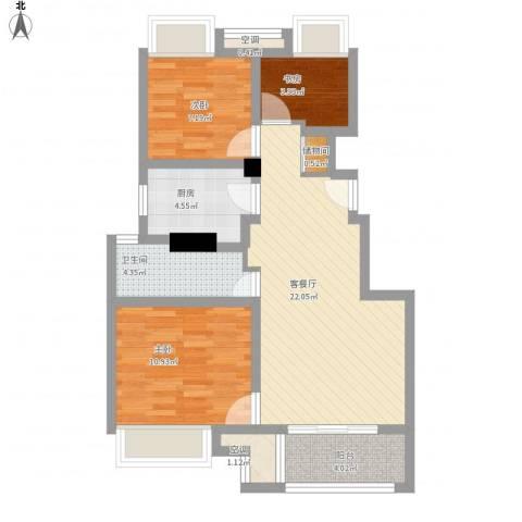 万科尚源3室1厅1卫1厨89.00㎡户型图