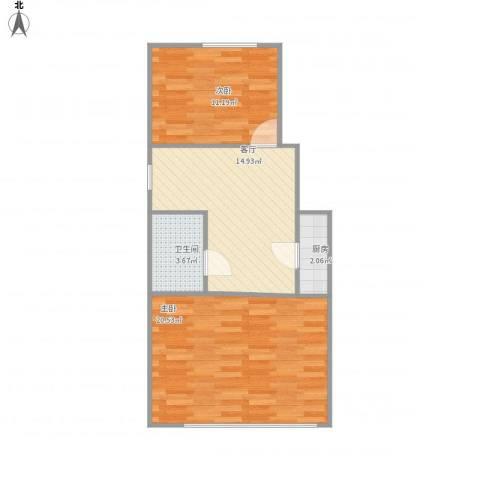 开阳里东巷2室1厅1卫1厨70.00㎡户型图