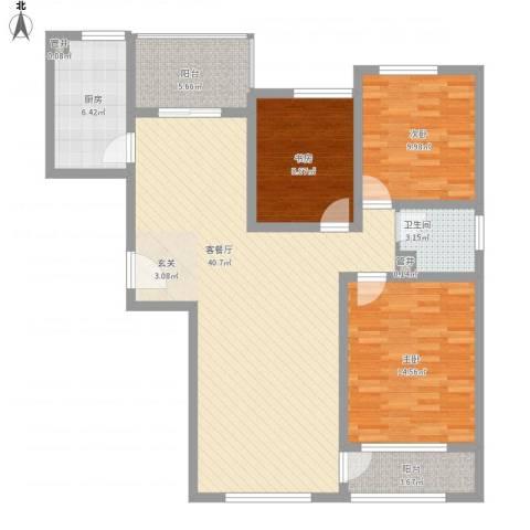 华勤紫金城3室1厅1卫1厨133.00㎡户型图