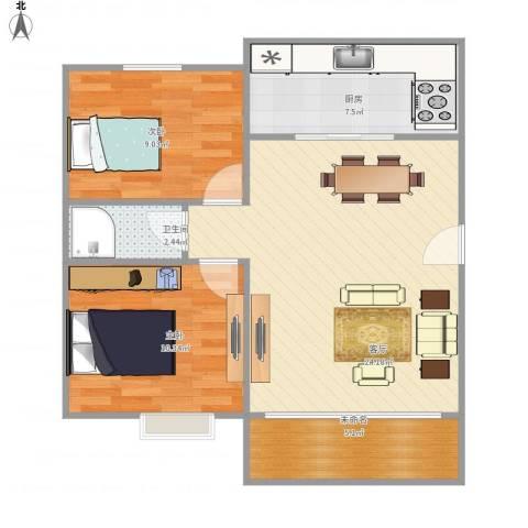 高行绿洲2室1厅1卫1厨79.00㎡户型图