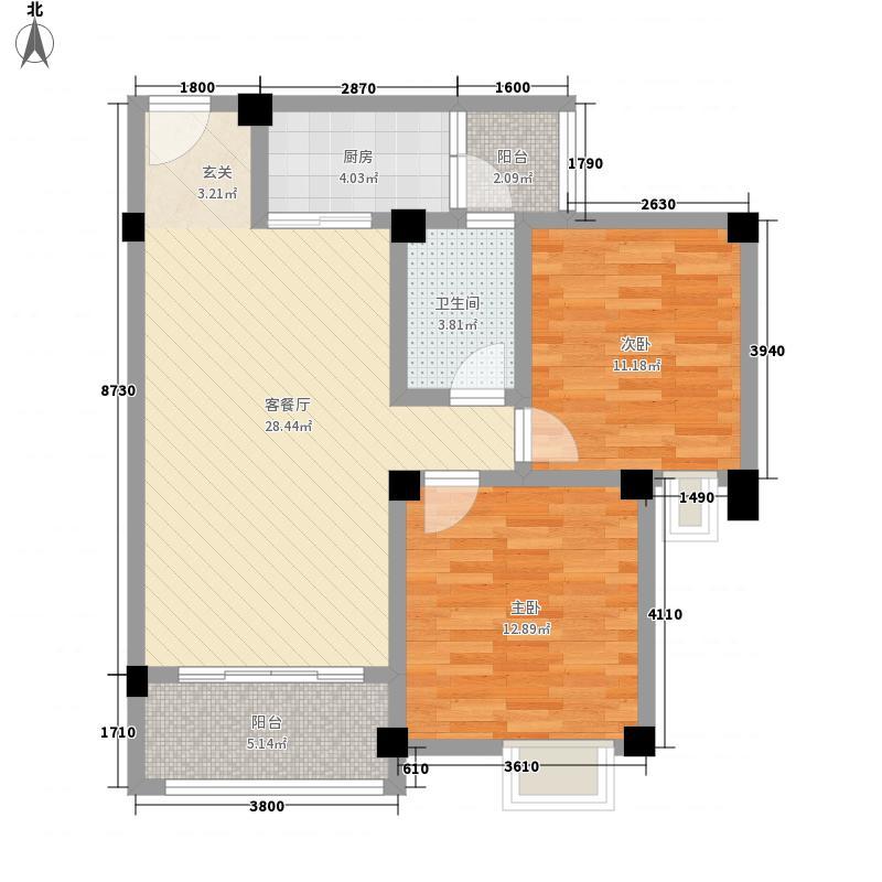 荣华山庄二期温情港湾A4户型2室2厅1卫1厨