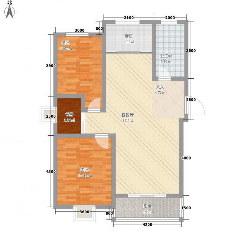 水岸阳光鑫城15.20㎡C户型3室2厅1卫1厨