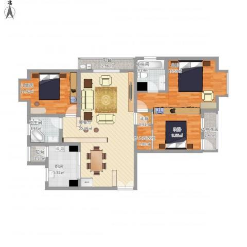 嘉丰银座3室1厅2卫1厨140.00㎡户型图