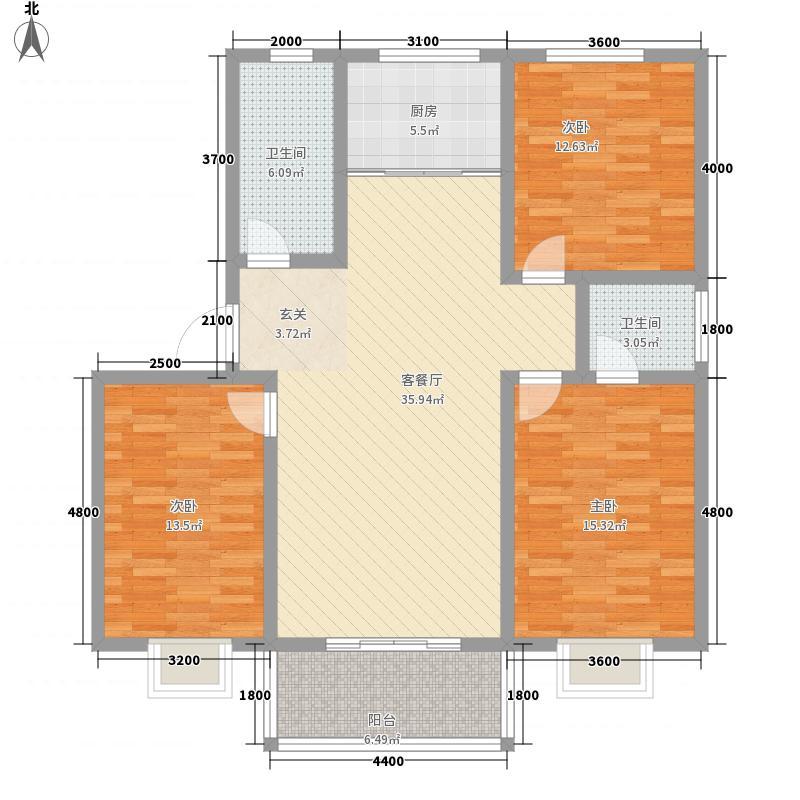 水岸阳光鑫城134.60㎡E户型3室2厅2卫1厨