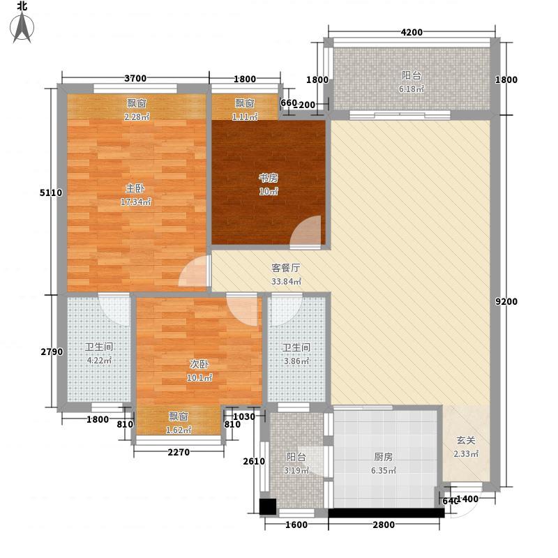 万锦华府3号楼户型3室2厅2卫1厨