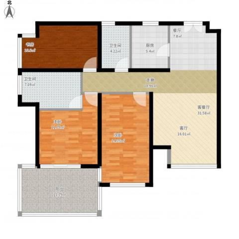 K2清水湾3室1厅2卫1厨137.00㎡户型图