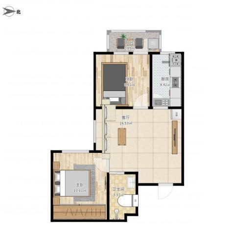 牛街西里二区2室1厅1卫1厨63.00㎡户型图