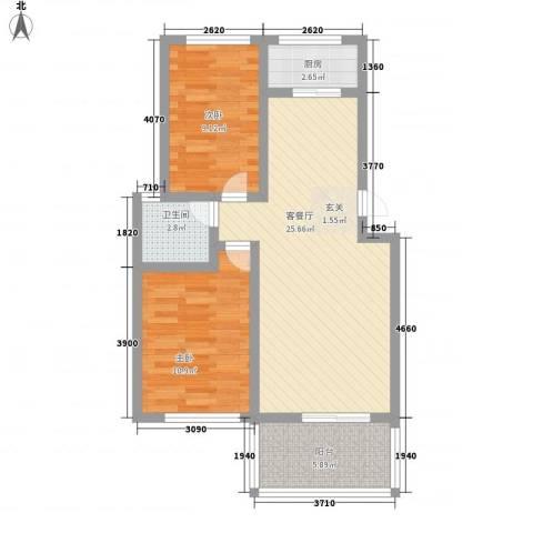 日照外滩・海洋世家2室1厅1卫1厨84.00㎡户型图