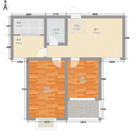 日照外滩・海洋世家2室2厅1卫1厨84.00㎡户型图