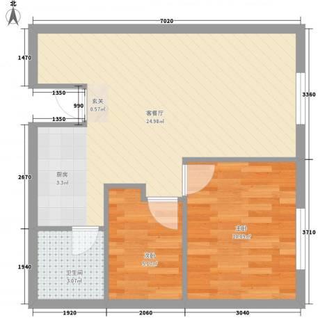 红利湾2室1厅1卫0厨65.00㎡户型图