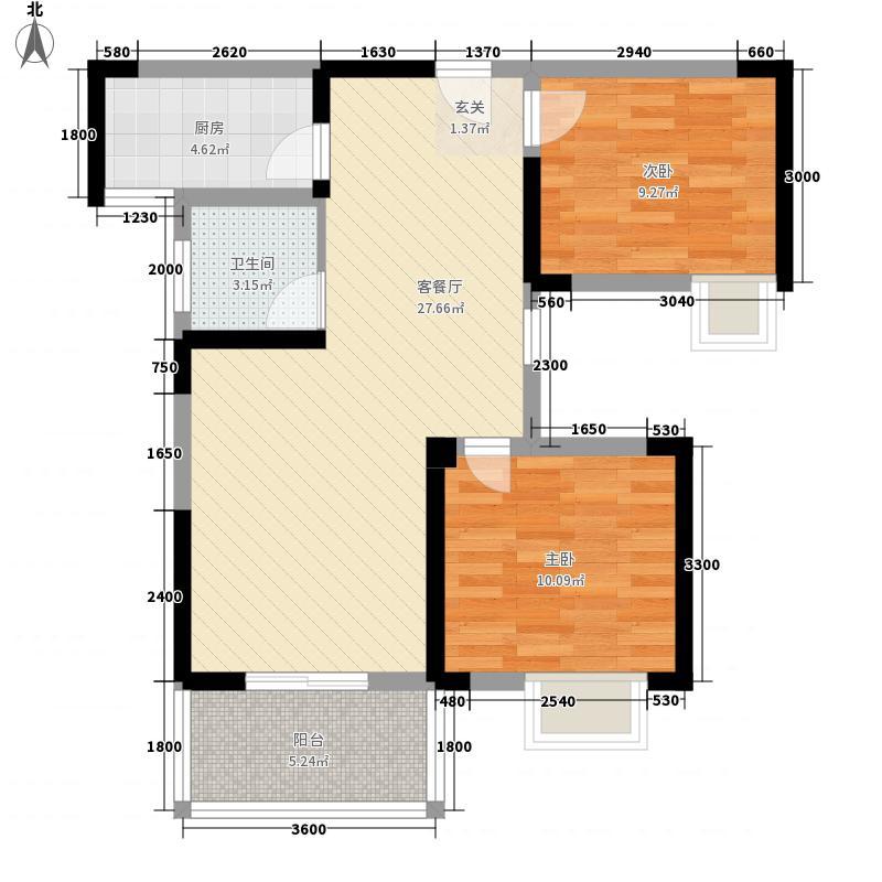 紫菱东岸88.00㎡D2户型2室2厅1卫1厨