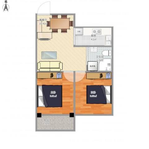 沁春园一村2室1厅1卫1厨64.00㎡户型图