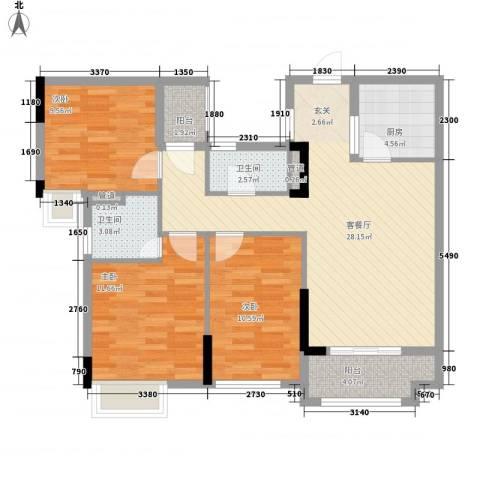 凤雅颂3室1厅2卫1厨76.55㎡户型图