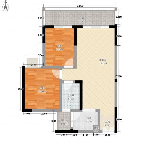 博雅苑2室1厅1卫1厨88.00㎡户型图