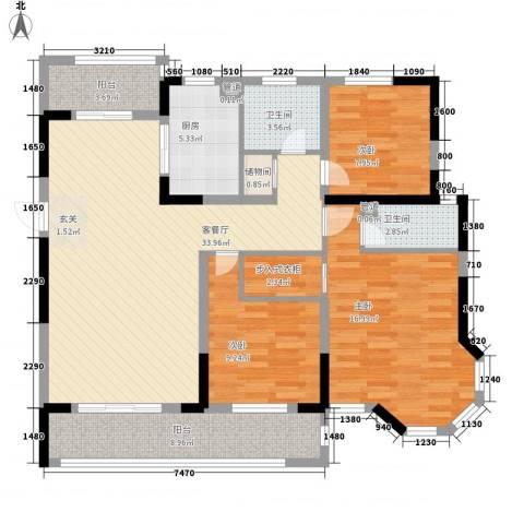 广弘城国际社区3室1厅2卫1厨110.63㎡户型图