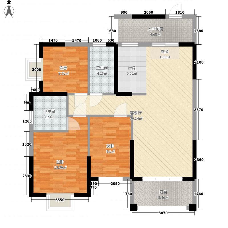 玉开东城经典1215.28㎡1-2号楼B1户型3室2厅2卫1厨