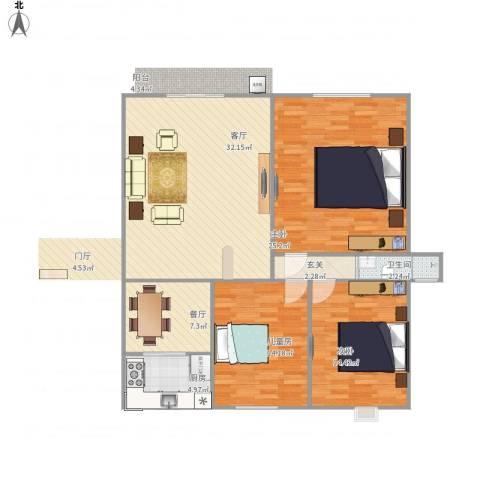 御景豪庭3室2厅1卫1厨137.00㎡户型图