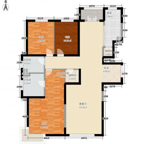 银河丽湾二期丽湾上品3室1厅2卫1厨176.00㎡户型图