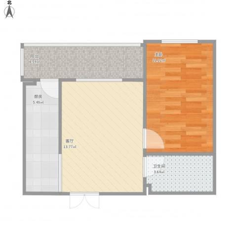 哈南之星1室1厅1卫1厨54.00㎡户型图